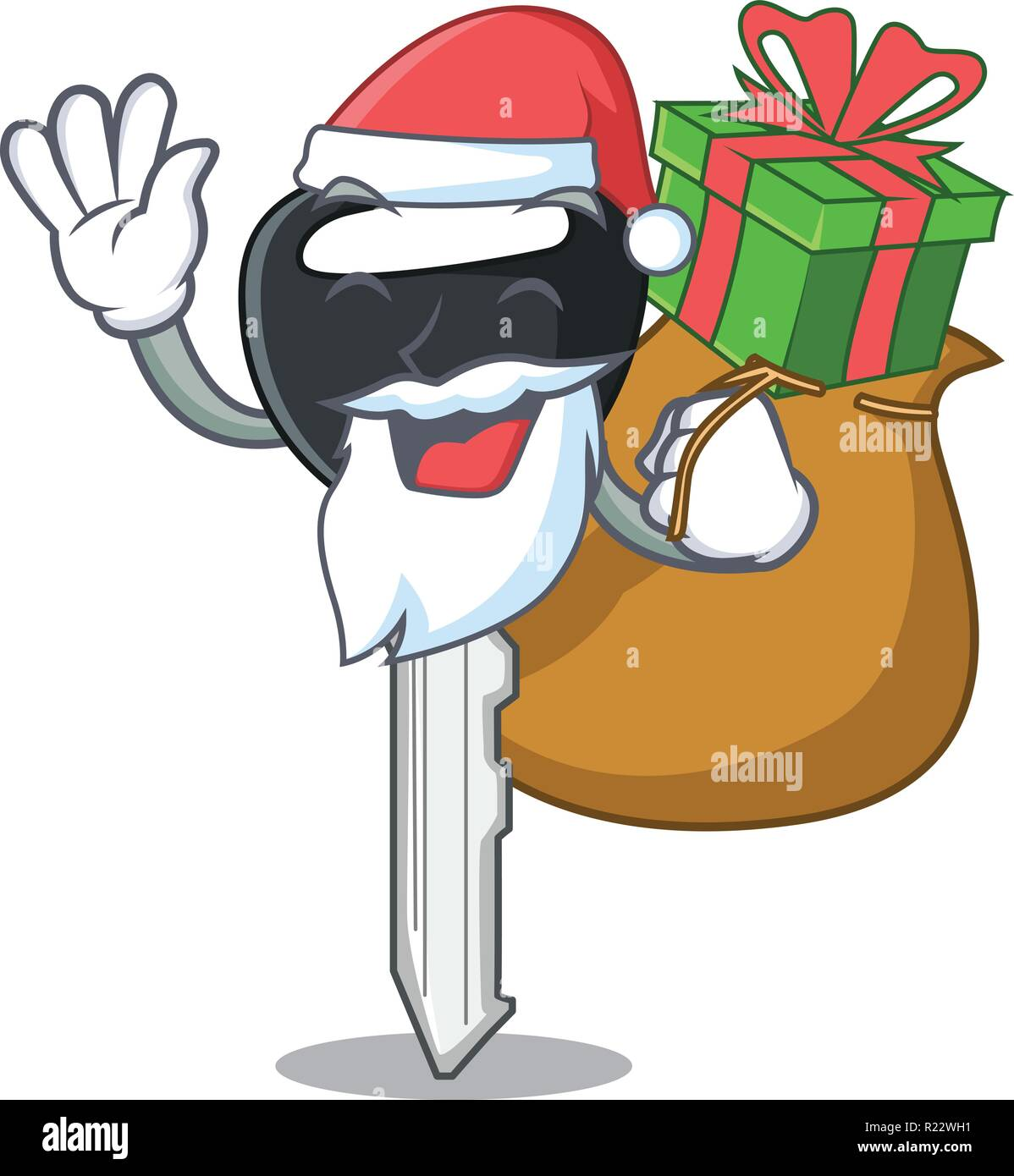 Weihnachtsmann Mit Geschenk Auto Taste Auf Freistellungspfad