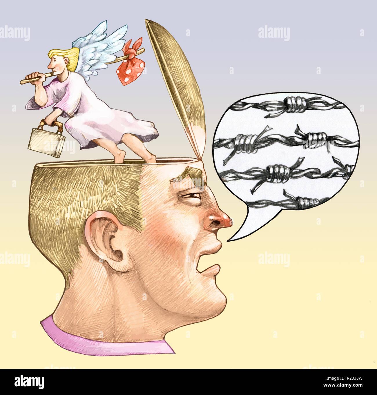 Ein männlicher Kopf im Profil Comic mit Knochen Thread aus dem Kopf der Engel des Gewissens entweicht Allegorie des Rassismus und Gewalt politische Stockfoto