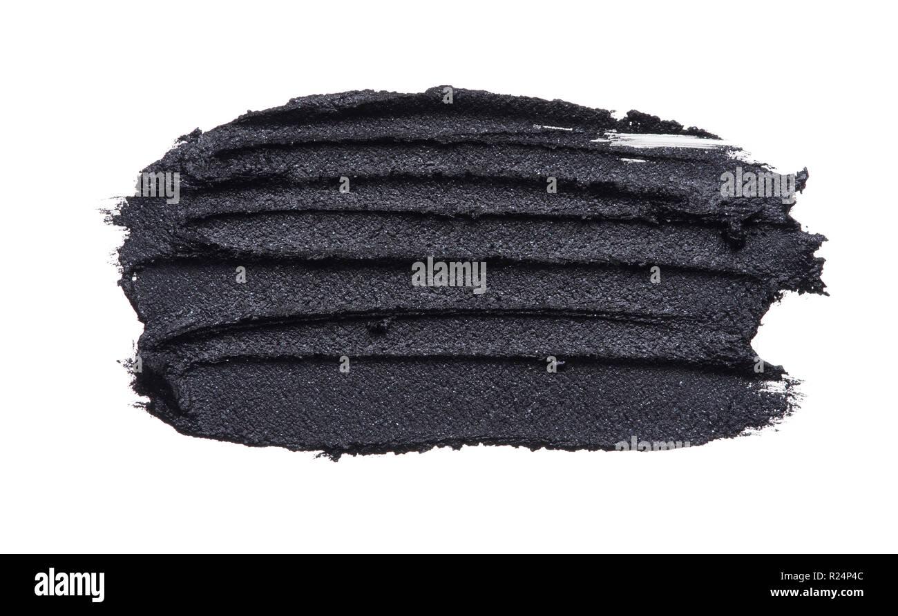 Textur zerquetschten Eyeliner in Schwarz auf weißem Hintergrund Stockbild