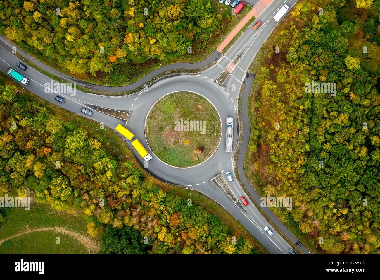 Luftaufnahme, Karussell, Bönen, Ruhrgebiet, Nordrhein-Westfalen, Deutschland Stockfoto