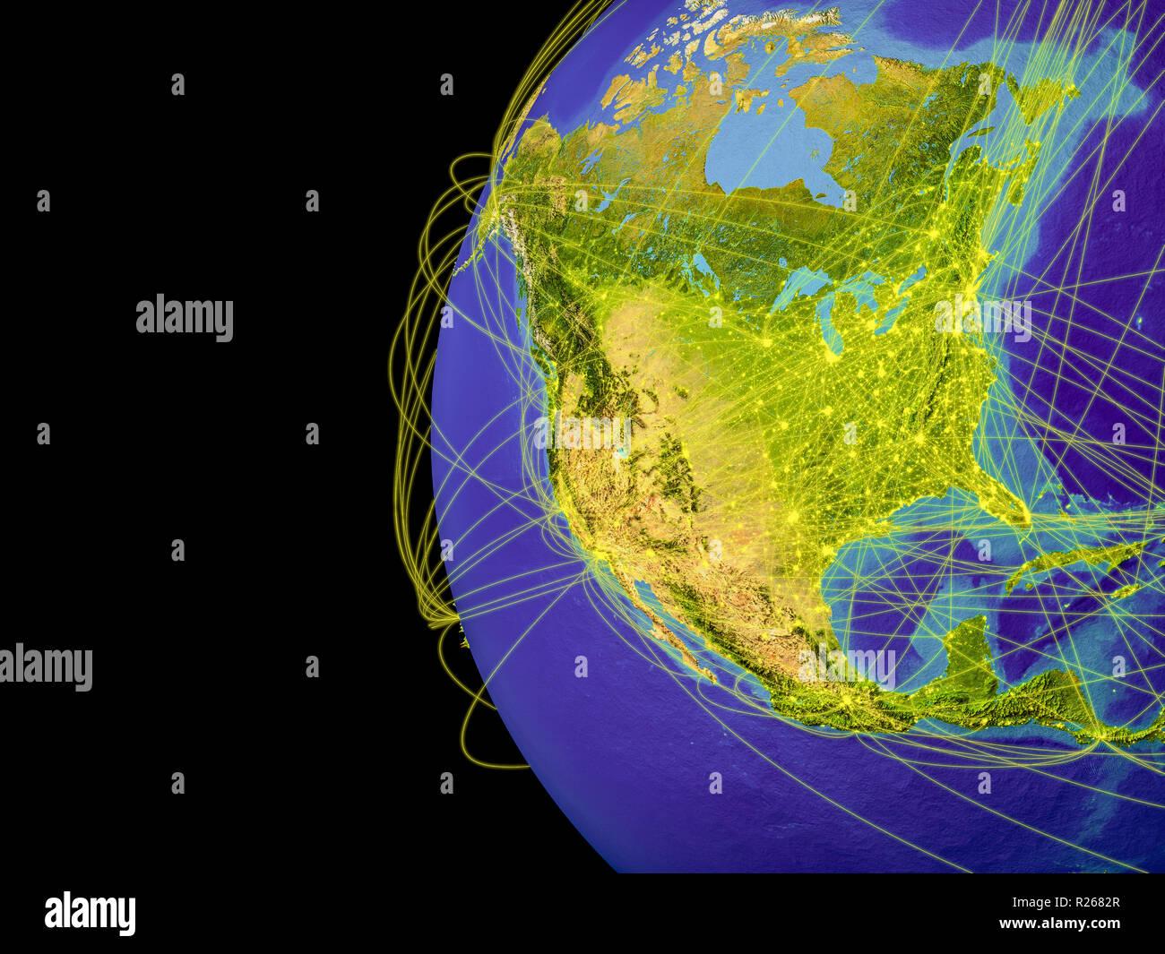 Nordamerika aus dem Weltraum auf dem Planeten Erde mit Linien, globale Kommunikation, Reisen, Verbindungen. 3D-Darstellung. Elemente dieses Bild fu Stockfoto