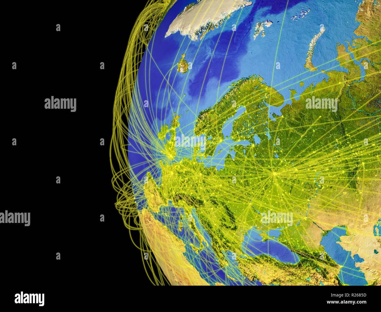 Europa aus dem All auf dem Planeten Erde mit Linien, globale Kommunikation, Reisen, Verbindungen. 3D-Darstellung. Elemente dieses Bild eingerichtet Stockfoto