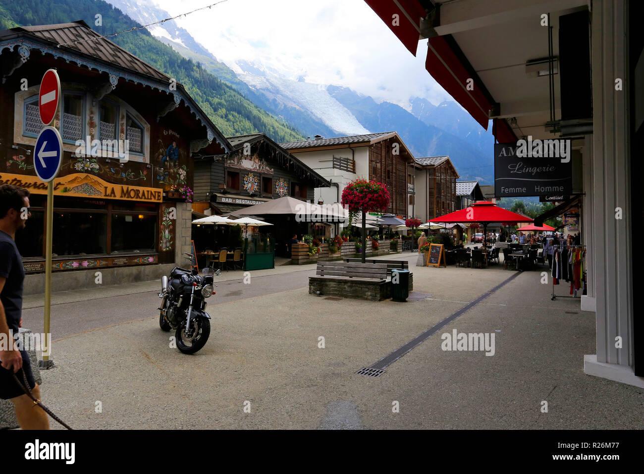 Chamonix Stadt Stockfoto