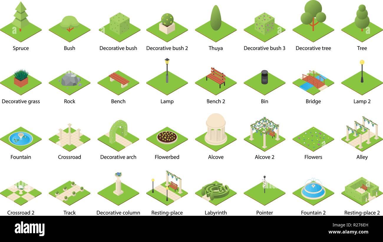 Park Natur Elemente Landschaft Design Icons einstellen. Isometrische Darstellung von 32 Park Natur Elemente Landschaft Vector Icons für Web Stockbild