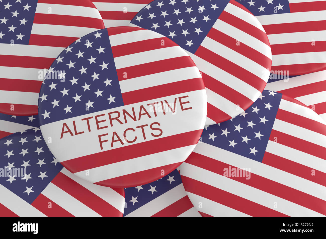 USA Medien Aktuelles Konzept Abzeichen: Mit alternativen Fakten Button mit US-Flagge, 3D-Illustration Stapel Stockbild
