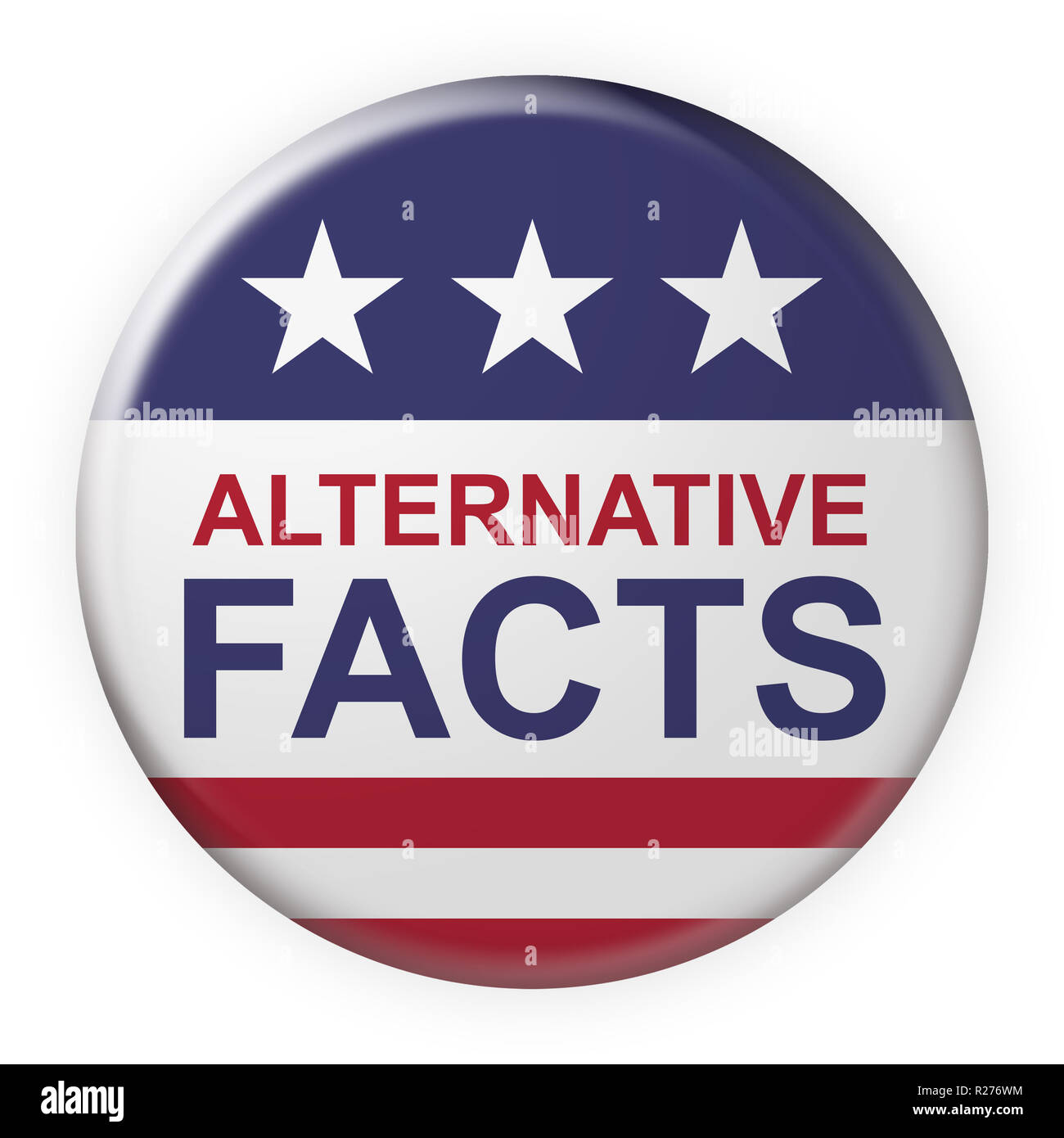 USA Medien Konzept Abzeichen: Alternative Fakten Button mit US-Flagge, 3-D-Abbildung auf weißem Hintergrund Stockbild