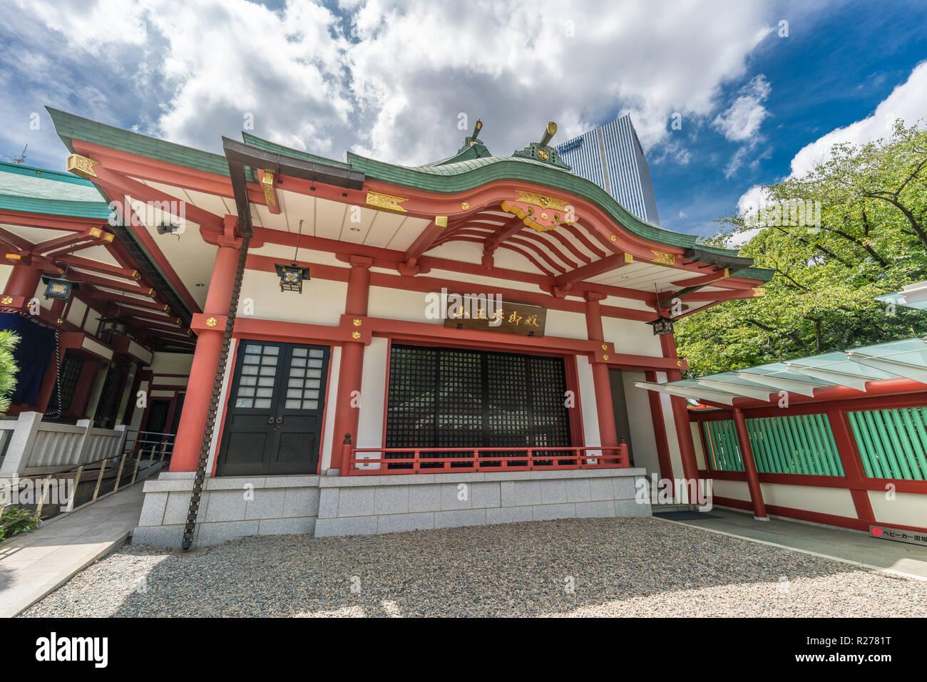 Tokio - August 14, 2018: Sanno Yume-Goten Hall des Hie-Jinja. Shinto Schrein in Nagatacho Bezirk Chiyoda Bezirk. Verankert Hie-no-kami und Oya Stockbild