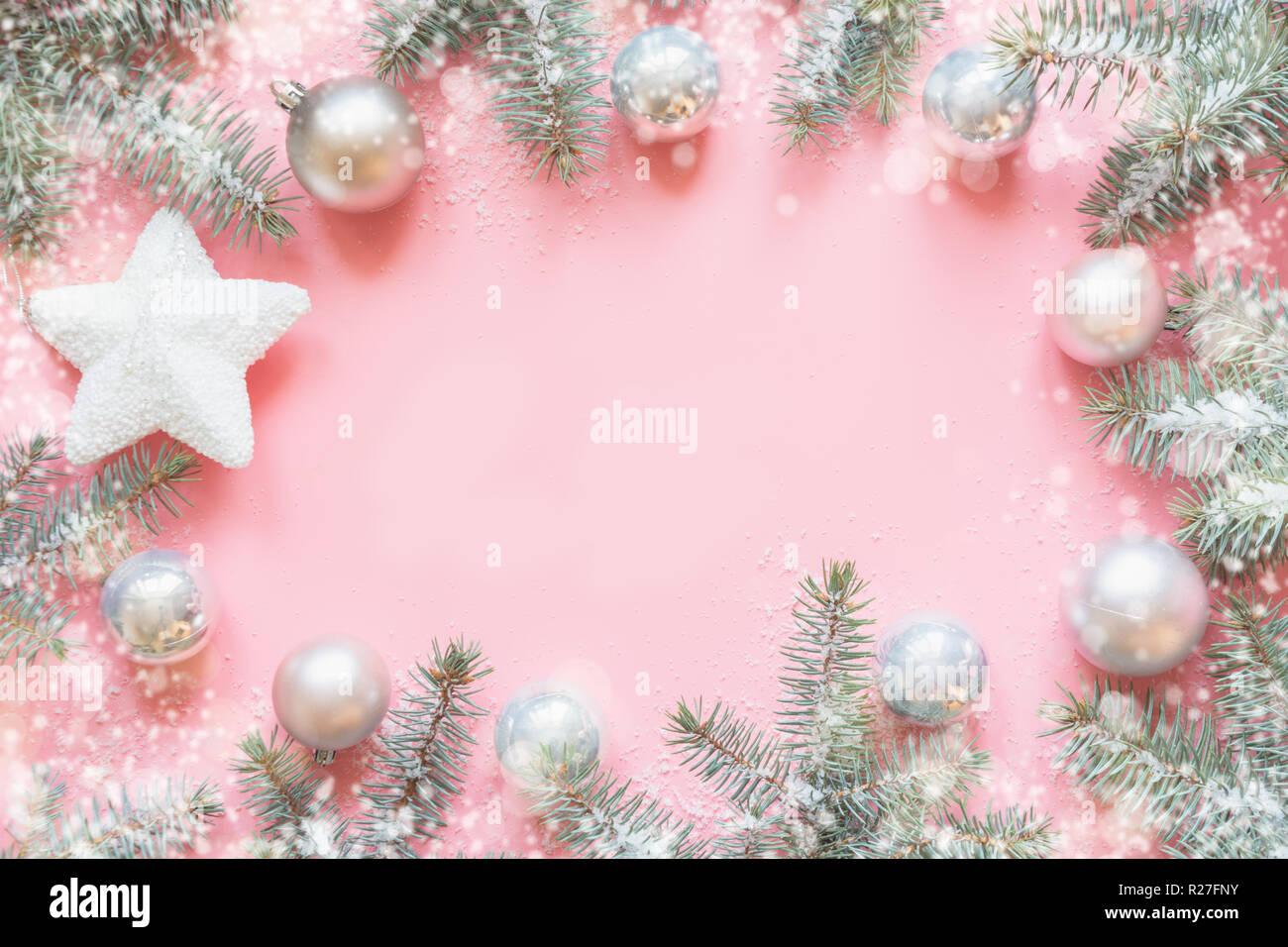 Hintergrund Weihnachten.Weihnachten Rahmen Aus Tannenzweigen Snowy White