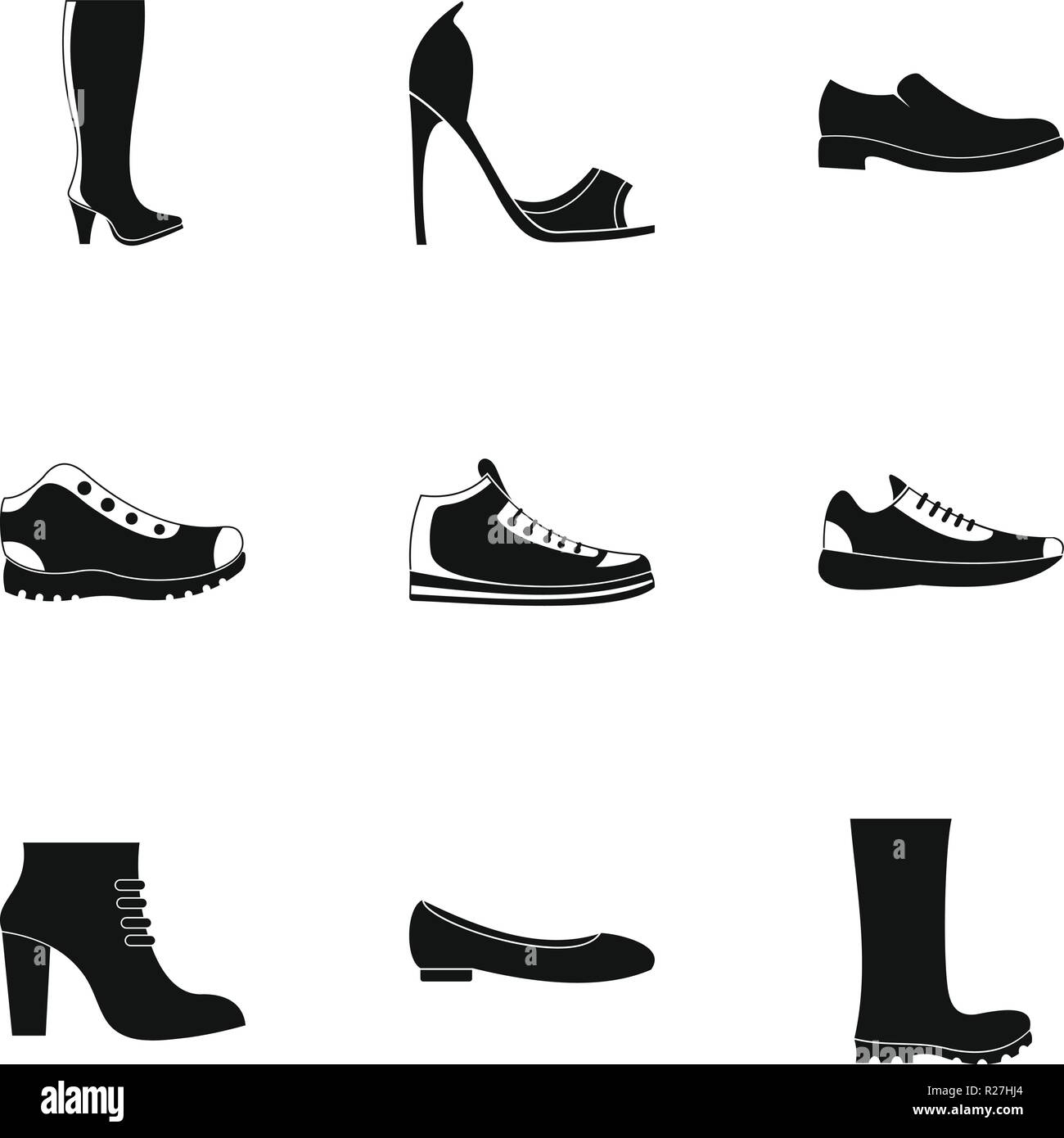Festes Schuhwerk Symbole gesetzt. Einfacher Satz von 9 feste