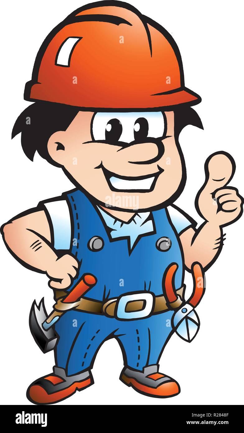 Vektor Cartoon Illustration Eines Glucklichen Bauarbeiter Oder