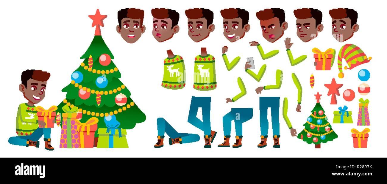 Bilder Weihnachten Animiert.Junge Schwarze Afro Amerikanische Vektor Weihnachten Kind