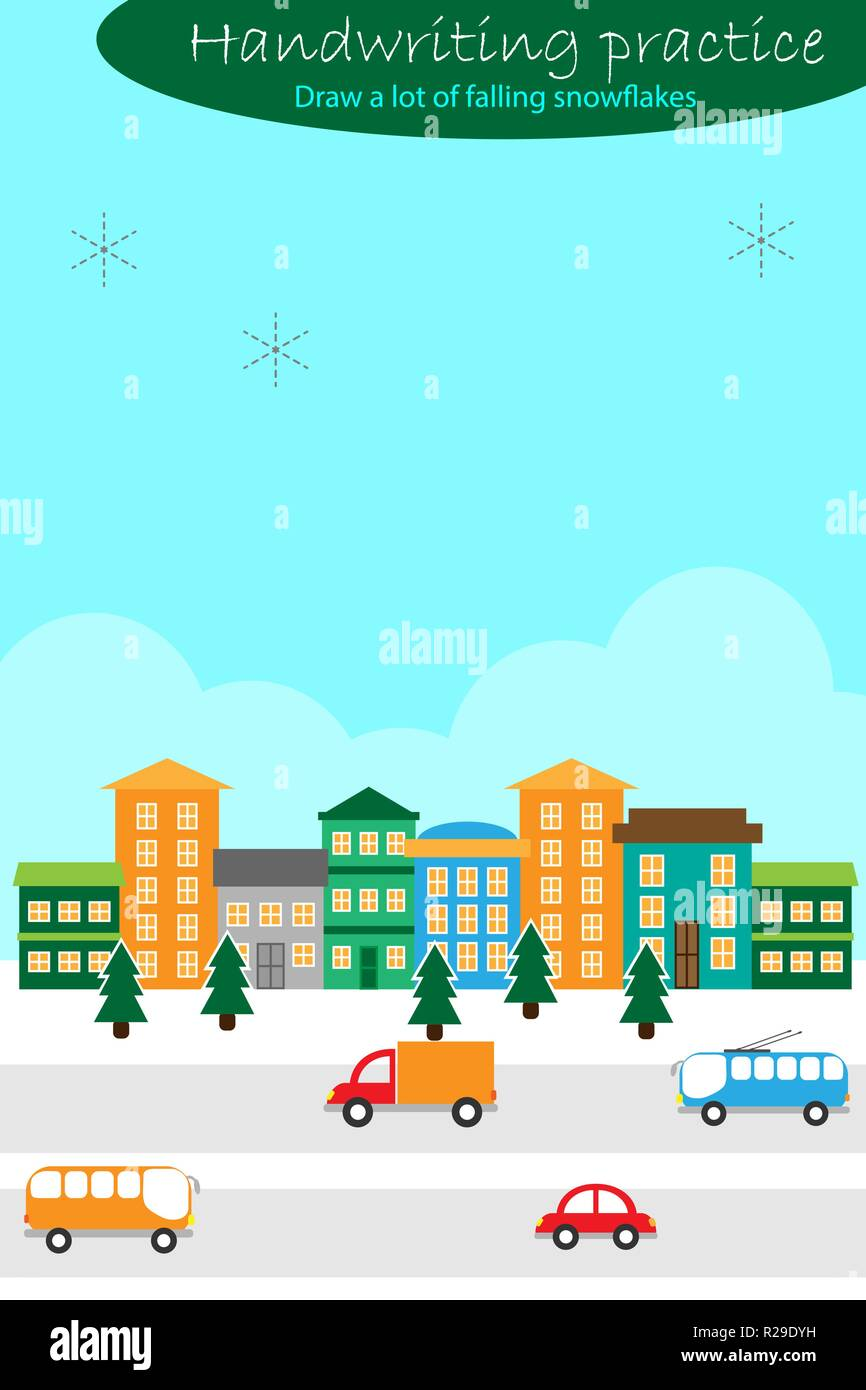 Handschrift Praxis Blatt Weihnachten Thema Schneeflocken Kinder