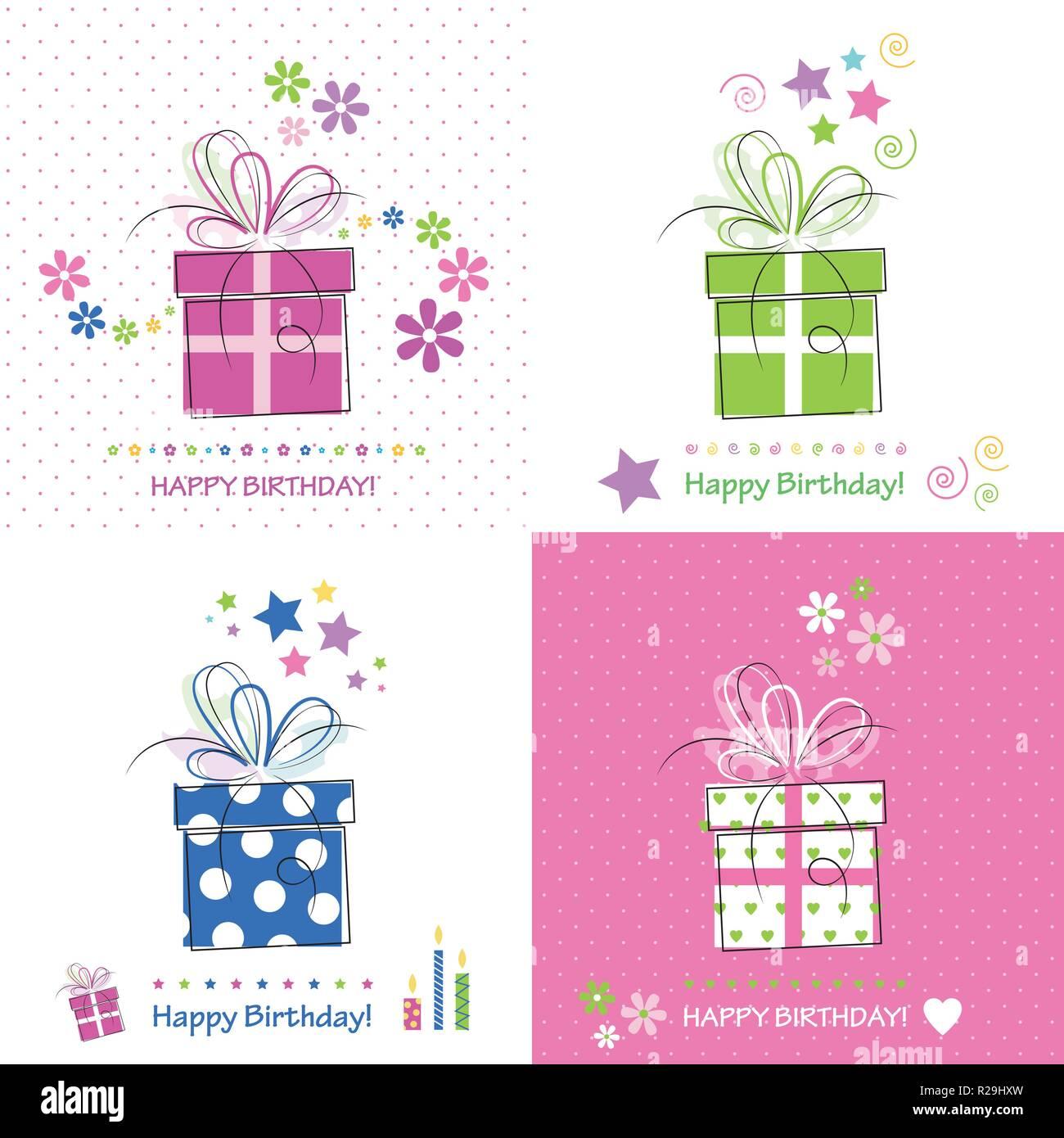 Vier Happy Birthday Cards Mit Rosa Blau Grun Und Weiss Prasentiert Bogen Herzen Sterne Blumen