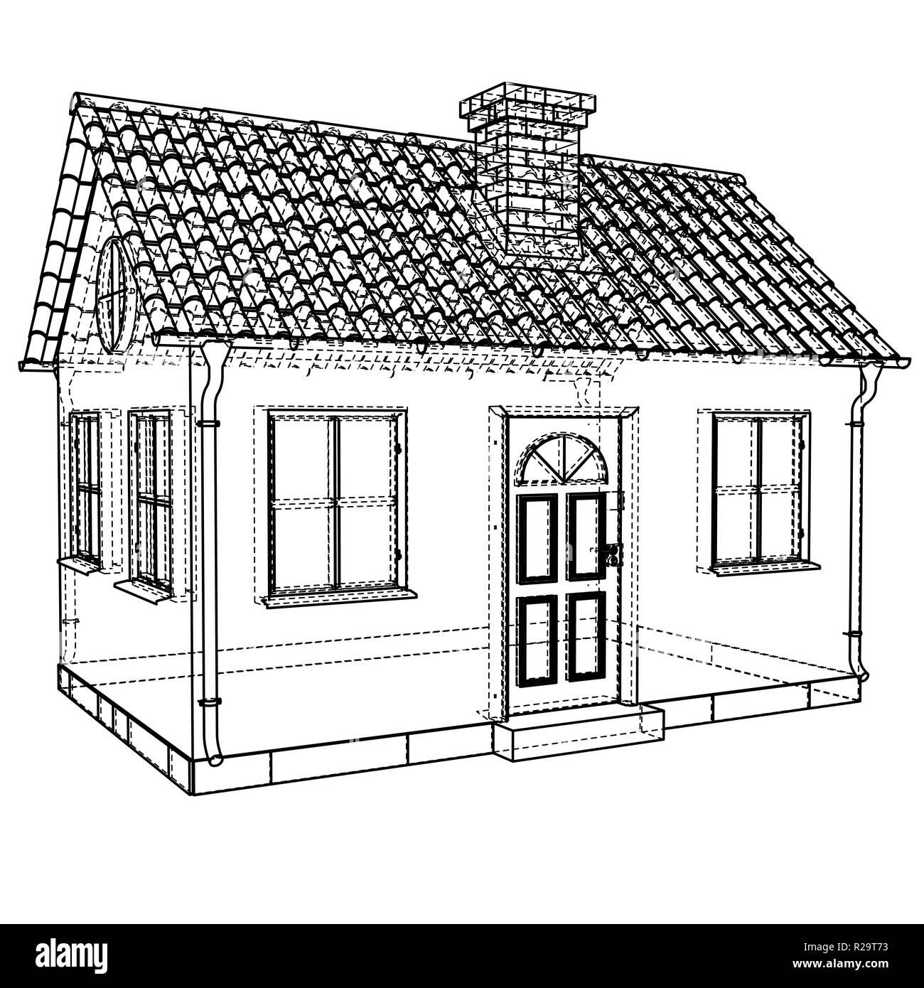 Private Haus Skizze. Vektor Rendering Von 3d Vektor