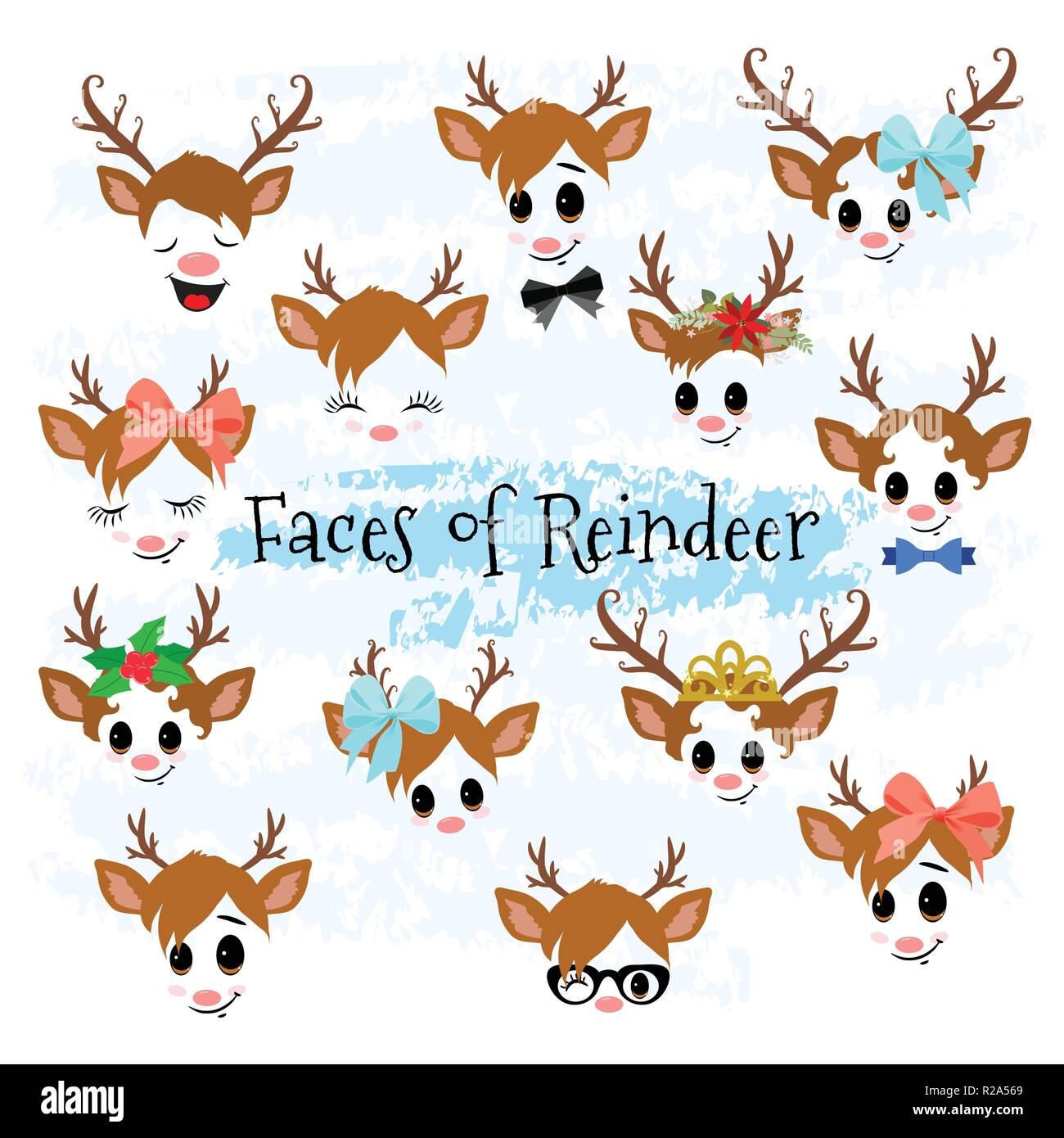 Weihnachtsdekor Rentier Gesichter Clipart Vektor Abbildung Bild