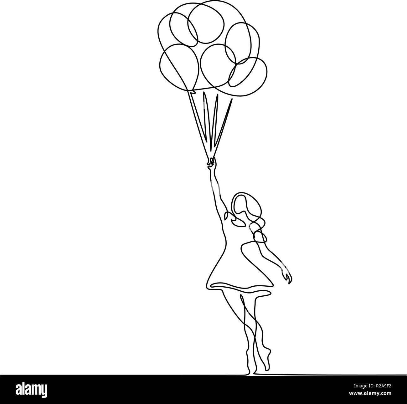 Kontinuierliche Eine Linie Zeichnen Madchen Fliegen In Der Luft Mit
