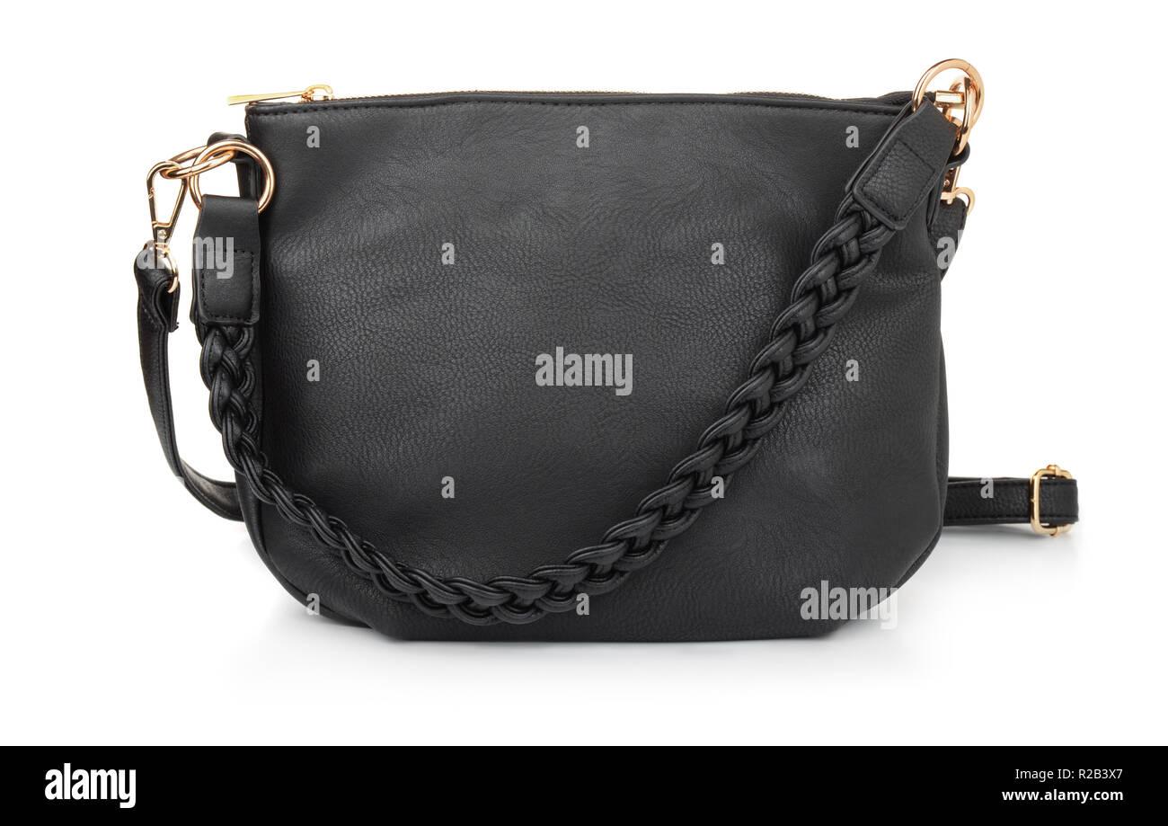c990d1b81f3a1 Schwarz leatherfemale hand Tasche isoliert auf weißem Stockbild