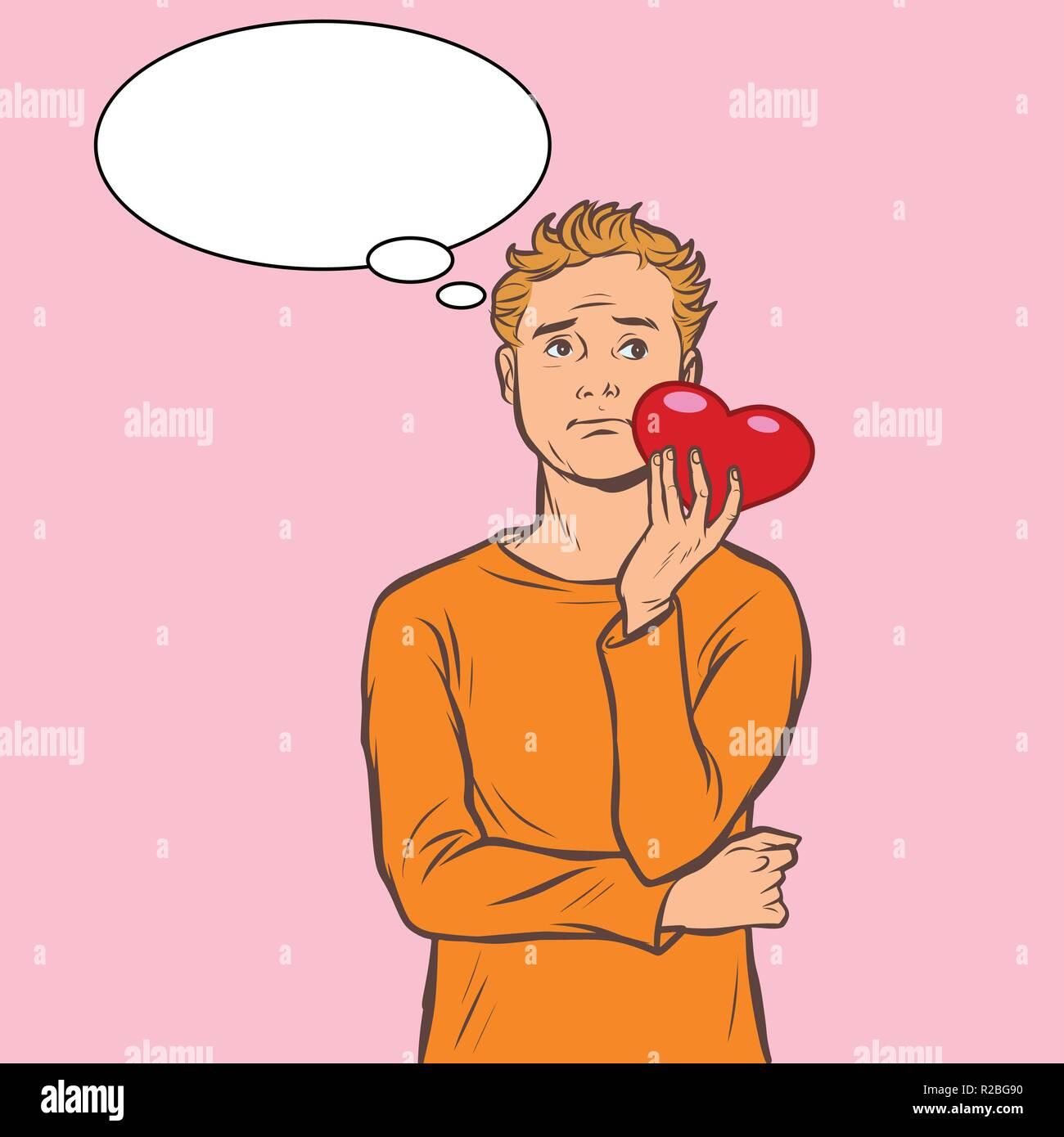 Mann Traumt Mit Einem Roten Herzen Zum Valentinstag Comic Cartoon