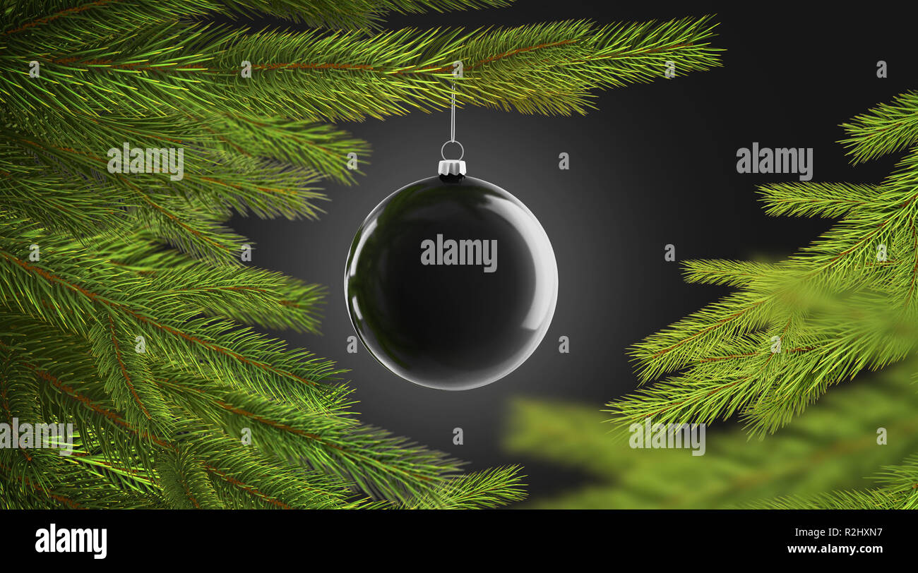 Schwarzer Weihnachtsbaum.Leerer Schwarzer Weihnachtsbaum Kugel Hangende Auf Pine