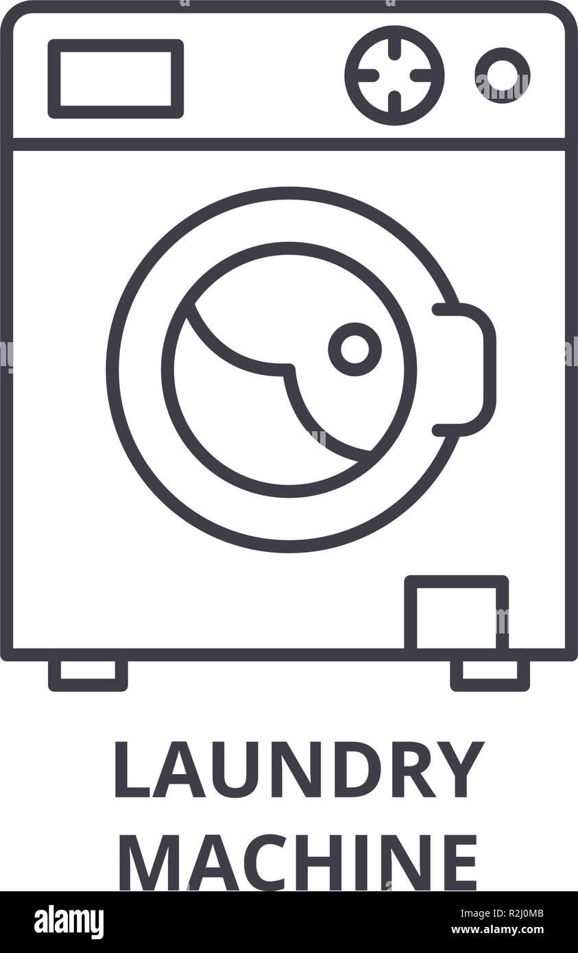 Waschmaschine Symbol Leitung Konzept Waschmaschine Vector Linear