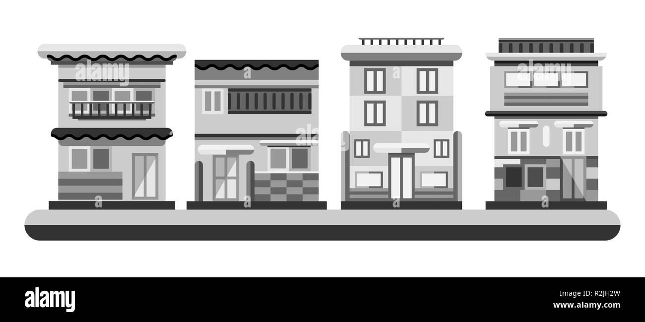 Im japanischen Stil Häuser. Stadt Gebäude in Graustufen und Farbe. Flache Darstellung Stockbild