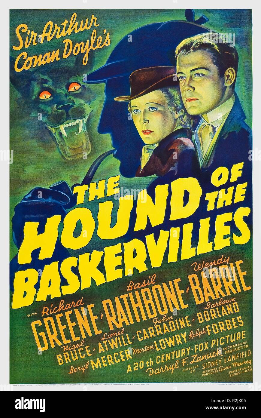 Der Hund der Baskervilles Jahr: 1939 USA Regie: Sidney Lanfield Poster (USA) Stockbild