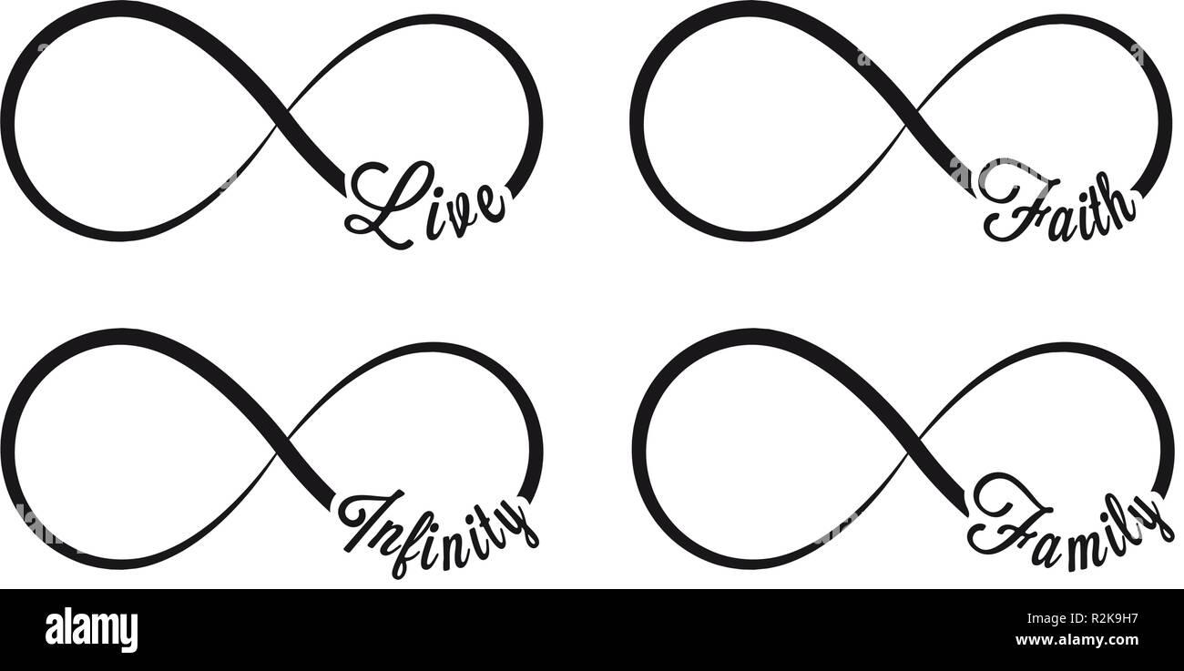 Infinity Symbole. Wiederholung und uneingeschränkte Zyklizität Symbol und Zeichen Abbildung auf weißen Hintergrund. Leben, Glaube, Familie Stockbild