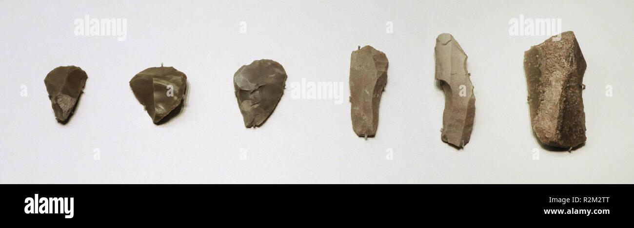 Schaber. Solutrean. Jungpaläolithikum. Höhle von 1305-1306 (Velez Blanco, Provinz Almeria, Andalusien, Spanien). Nationalen Archäologischen Museum. Madrid. Spanien. Stockbild