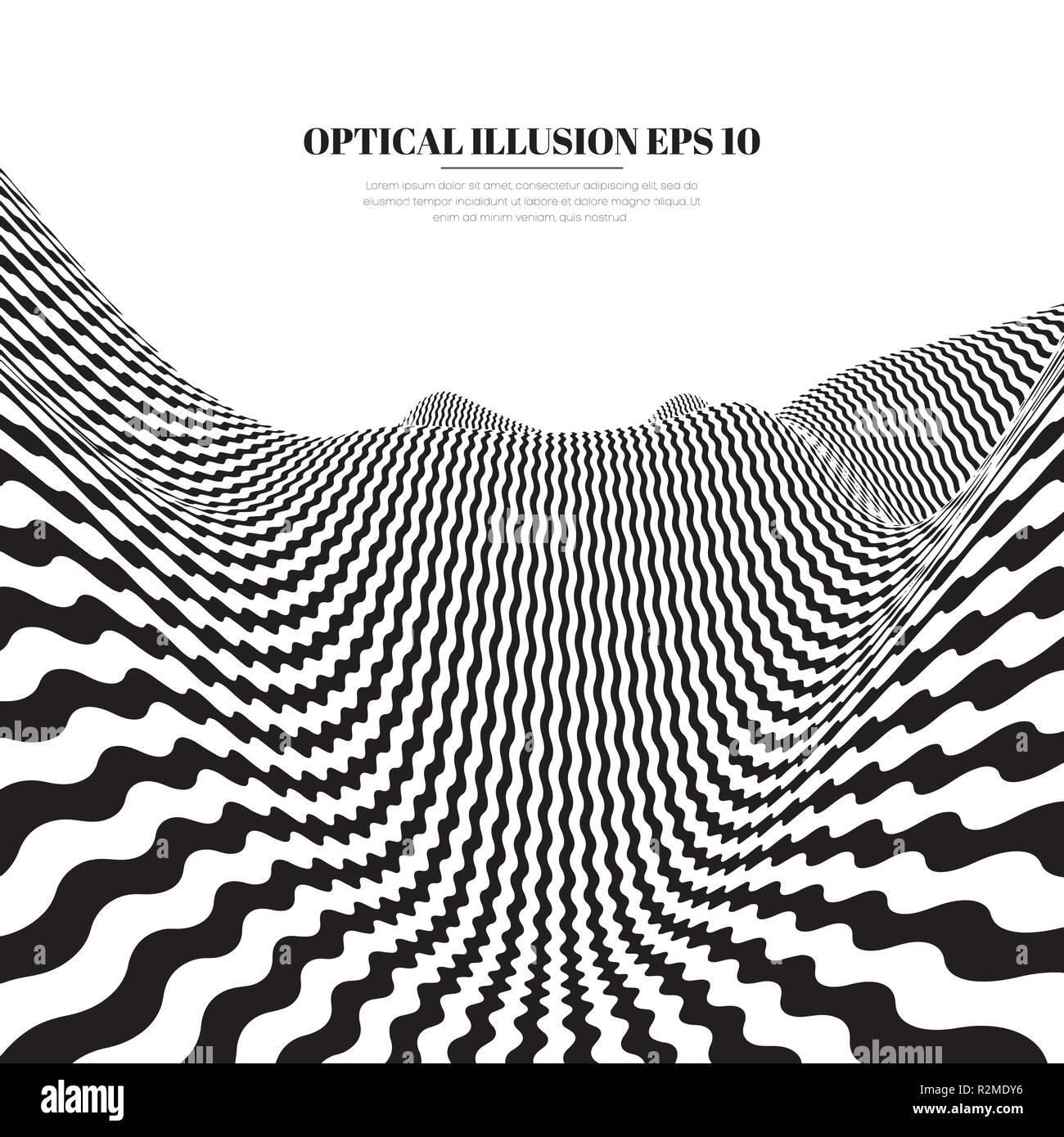 Optische Illusion Linien Hintergrund Abstrakten 3d Schwarz Und Weiß