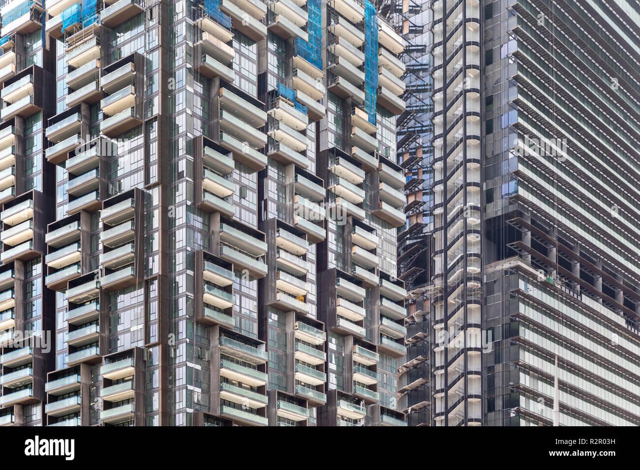 Singapur Hochhaus Fassaden Glas Balkon Treppe Stockfoto Bild