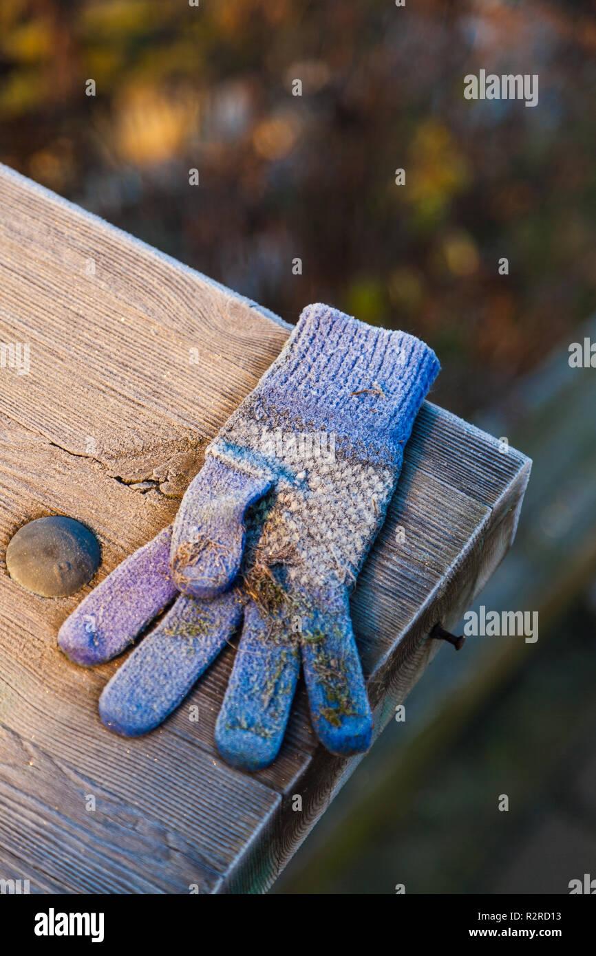 Childs verlorenen Handschuh auf einer hölzernen Geländer an einem frostigen Morgen, Stockbild