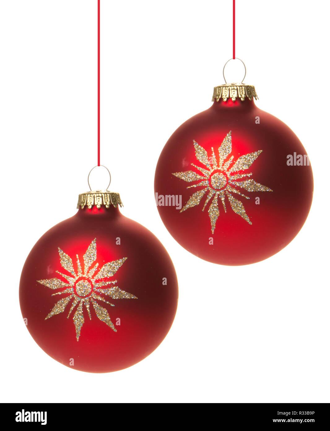 Rote Christbaumkugeln Glas.Rote Christbaumkugeln Mit Weissen Sterne Hangend Mit Weissem