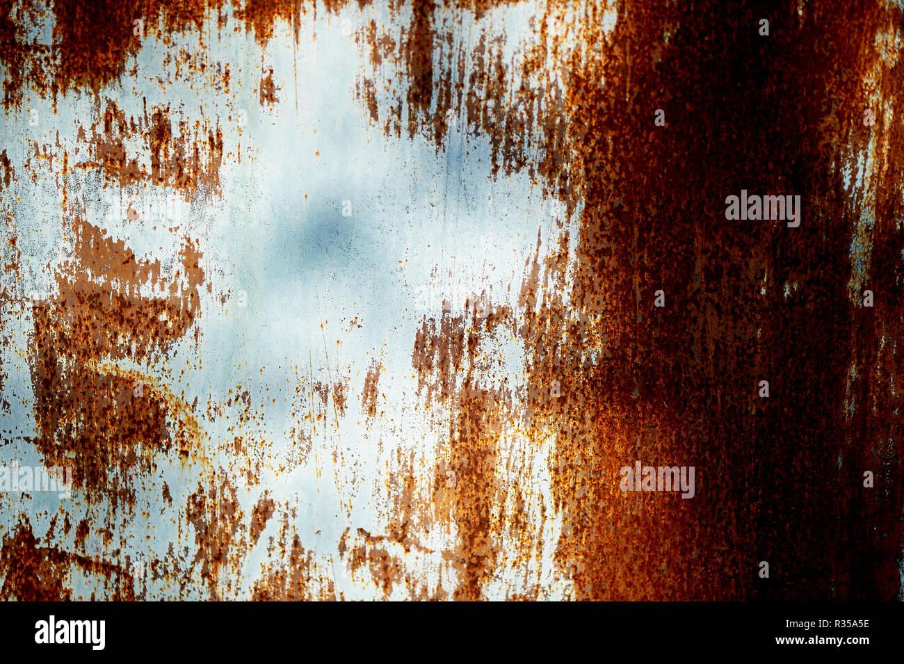 Textur rostiges Metall eng mit der blauen Farbe. Stockbild