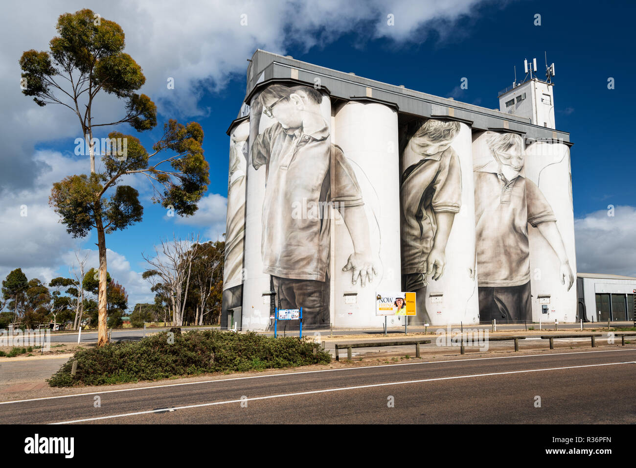 Berühmte silo Wandbild im Süden Australiens Coonalpyn. Stockbild
