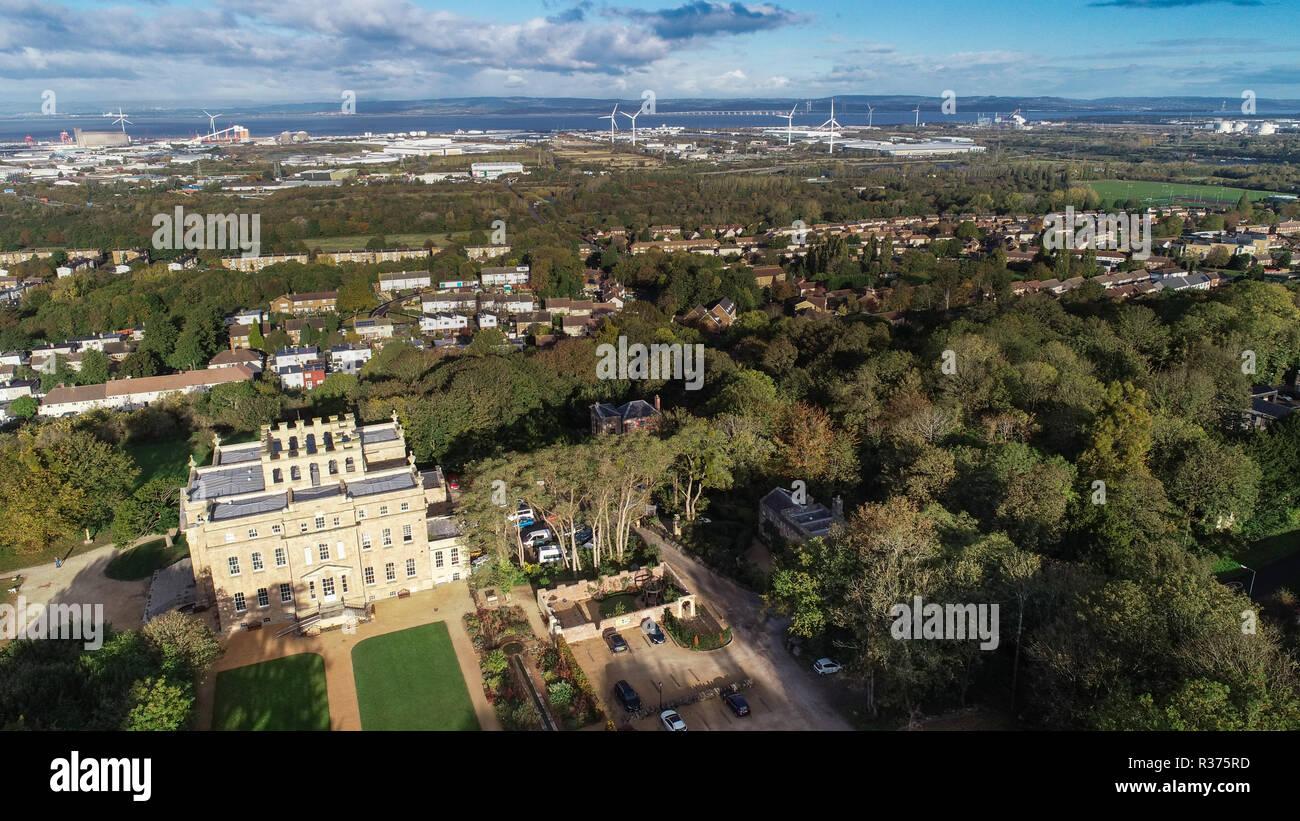 Drone schuss Kingsweston Haus, Bristol, Großbritannien Stockfoto