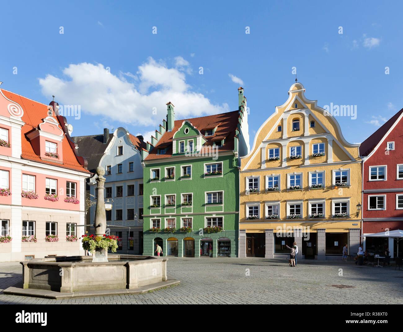 Historische Burgerhauser Am Marktplatz Memmingen Schwaben Bayern