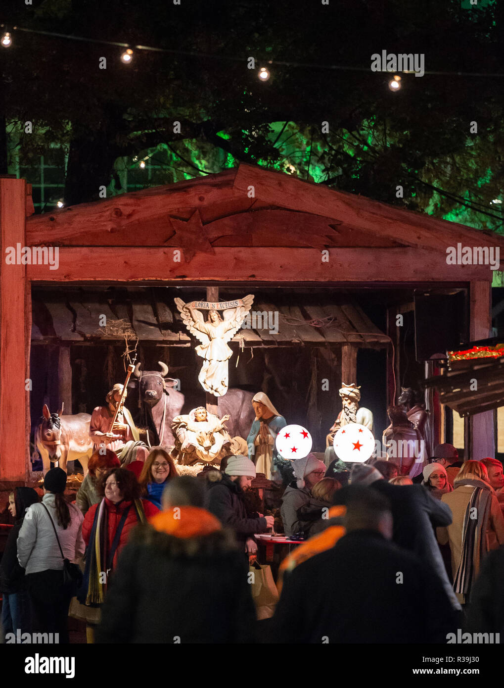 Weihnachtsmarkt Anfang.Hessen Rüdesheim Deutschland 22 Nov 2018 Es Gibt Ein