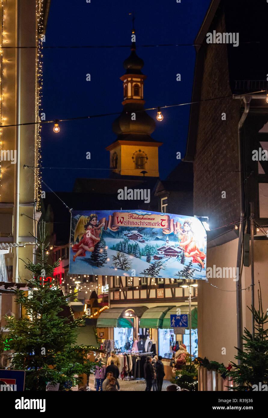 Weihnachtsmarkt Anfang.Hessen Rüdesheim Deutschland 22 Nov 2018 Ein Banner Mit Der