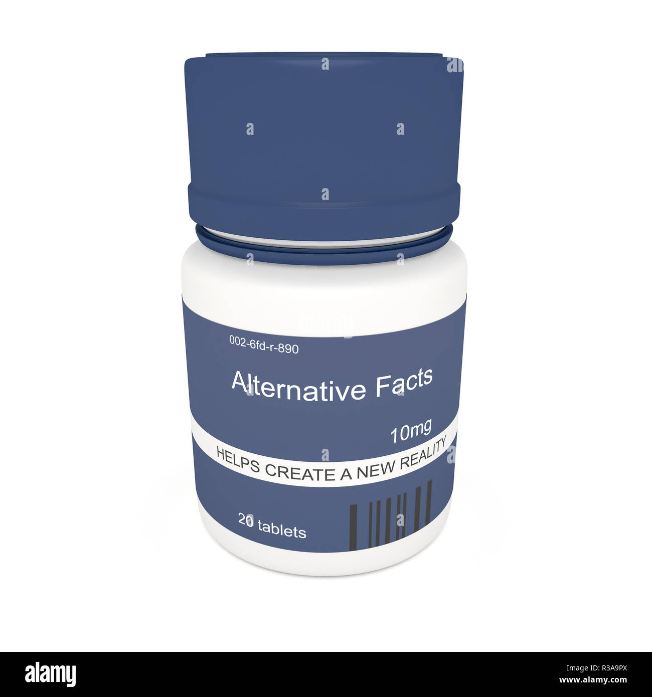 Medien Aktuelles Konzept: blaue Pille Flasche Alternative Fakten, 3d-Abbildung auf weißem Hintergrund Stockbild