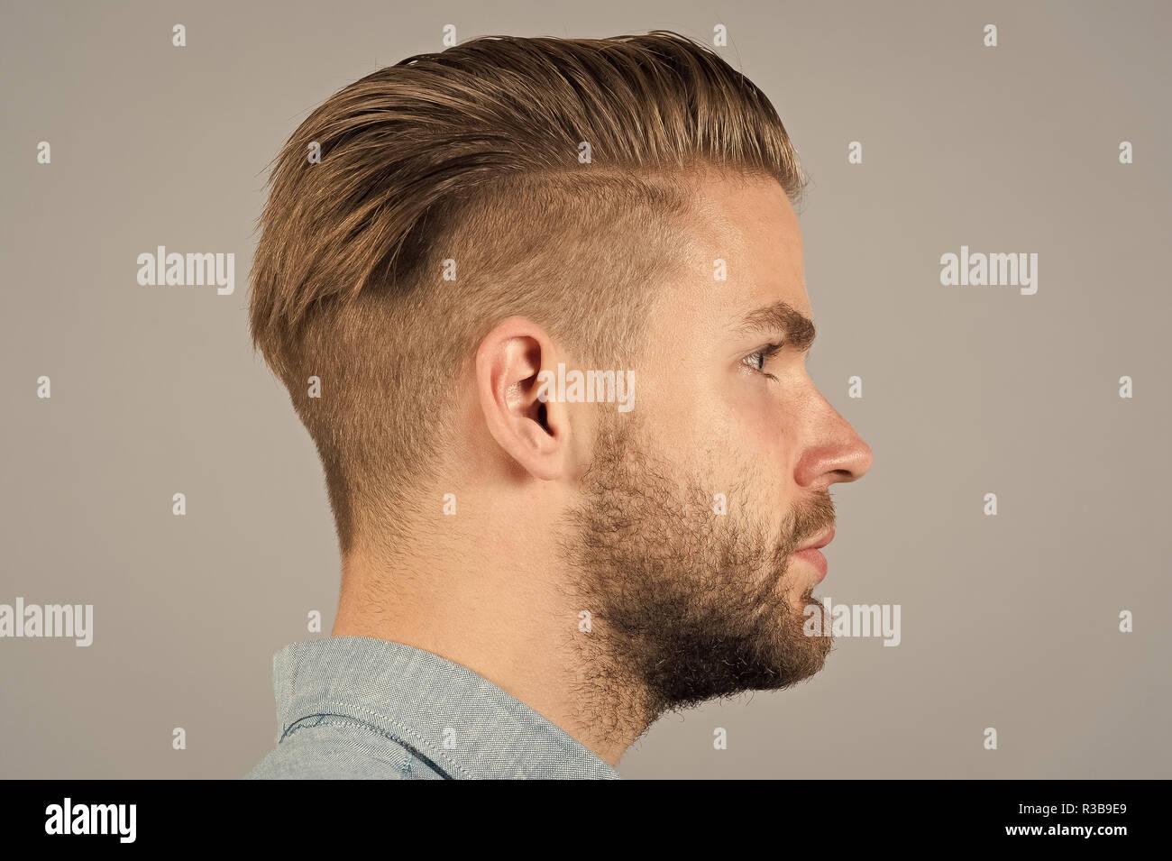 Mann Mit Bart Auf Unrasierten Gesicht Profil Macho Mit Stilvollen