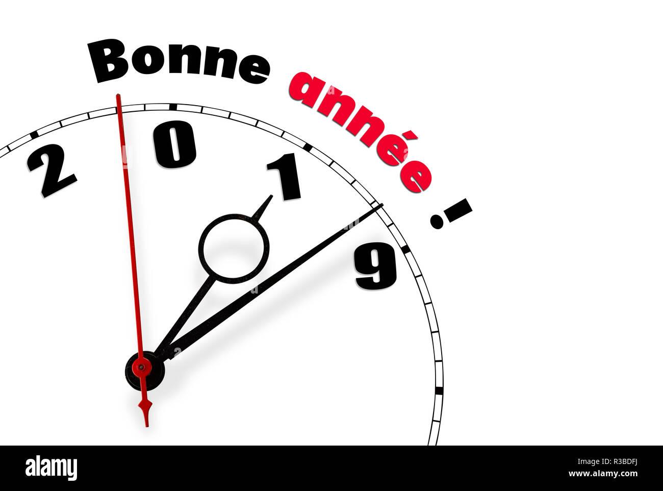 Weiße Uhr Mit Ein Frohes Neues Jahr 2019 In Französische Wörter