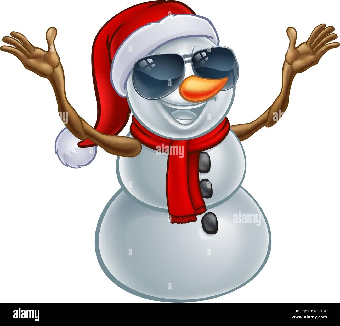 Coole Weihnachten Schneemann In Santa Hut Und Sonnenbrille Vektor