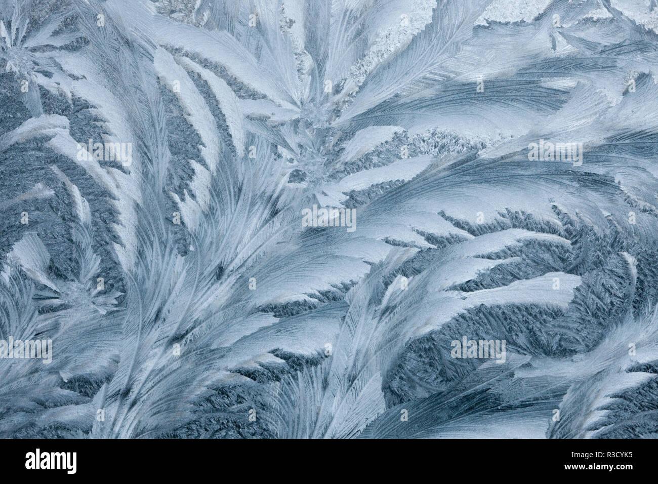 Eis auf dem Auto Fenster eingefroren Stockbild