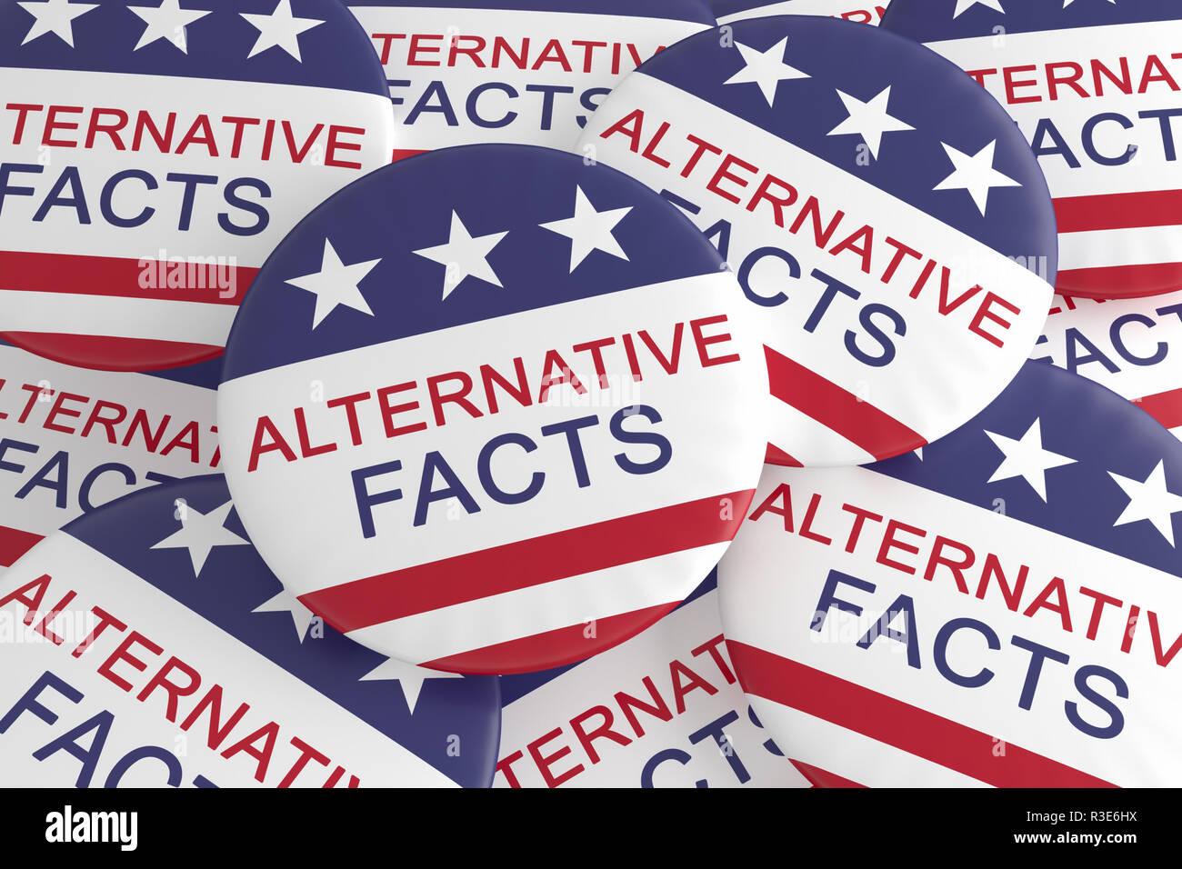 USA Politik Medien Aktuelles Konzept Abzeichen: Mit alternativen Fakten Button mit US-Flagge, 3D-Illustration Stapel Stockbild