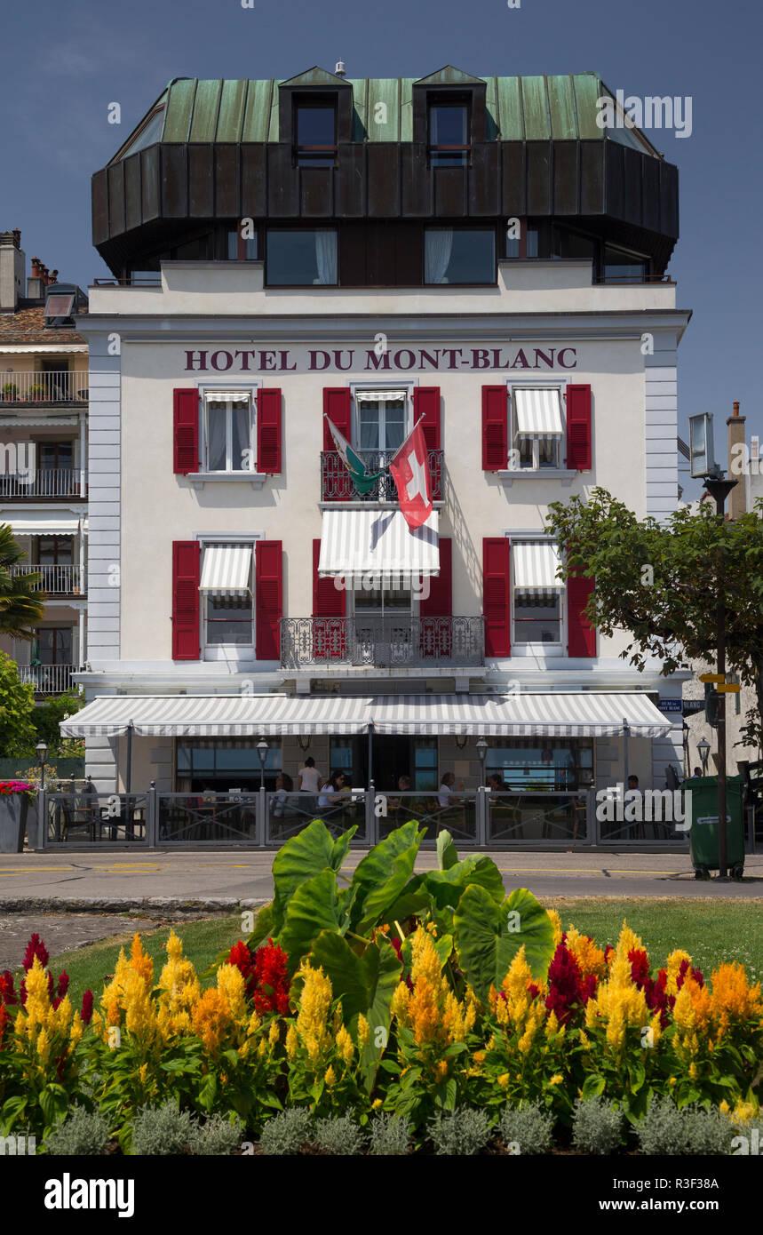 Romantik Hotel Mont-Blanc au Lac, Morges, Schweiz Stockbild