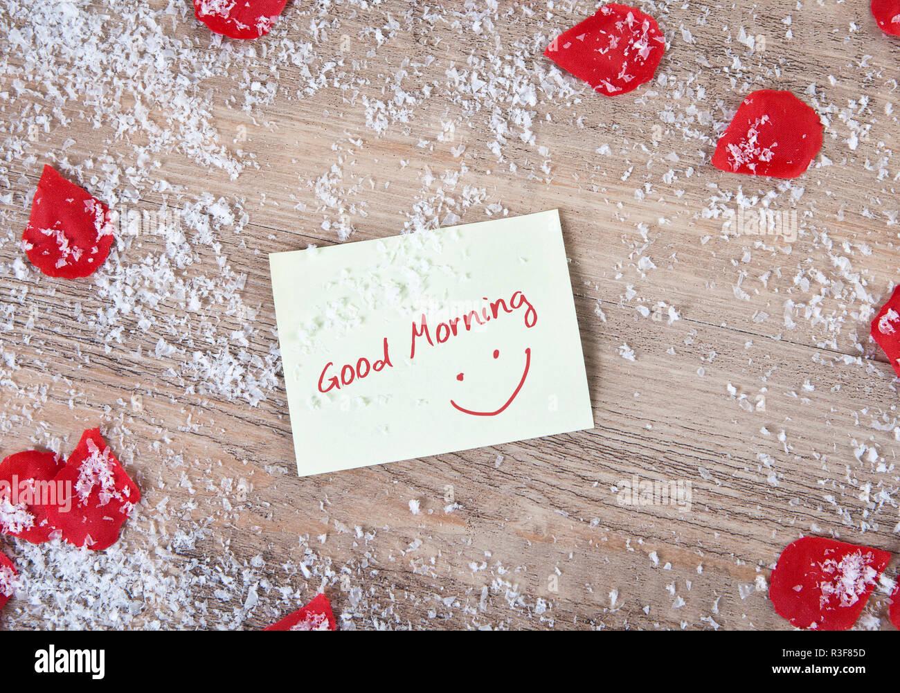 Guten Morgen Schnee Und Herzen Stockfoto Bild 225914457
