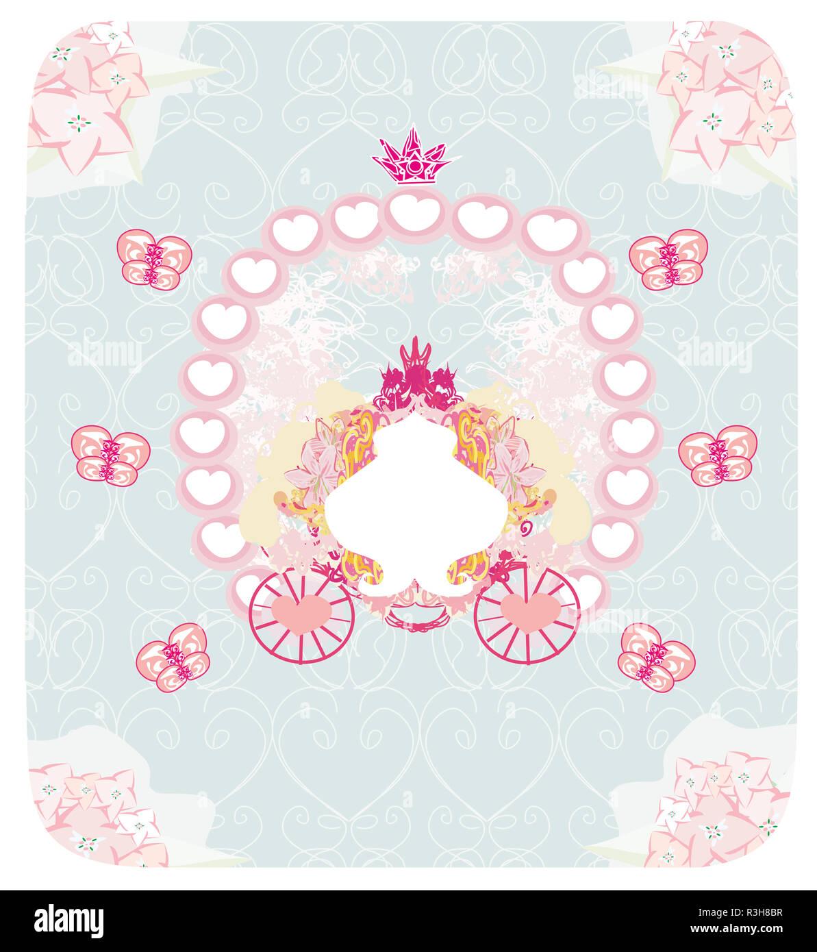 Wagen Vintage Floral Hochzeitseinladung Stockfoto Bild 225958539