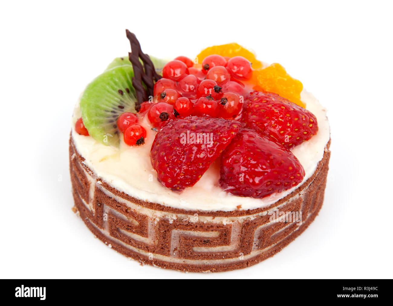 Quarkkuche früchtekuche auf weißem Hintergrund Stockbild