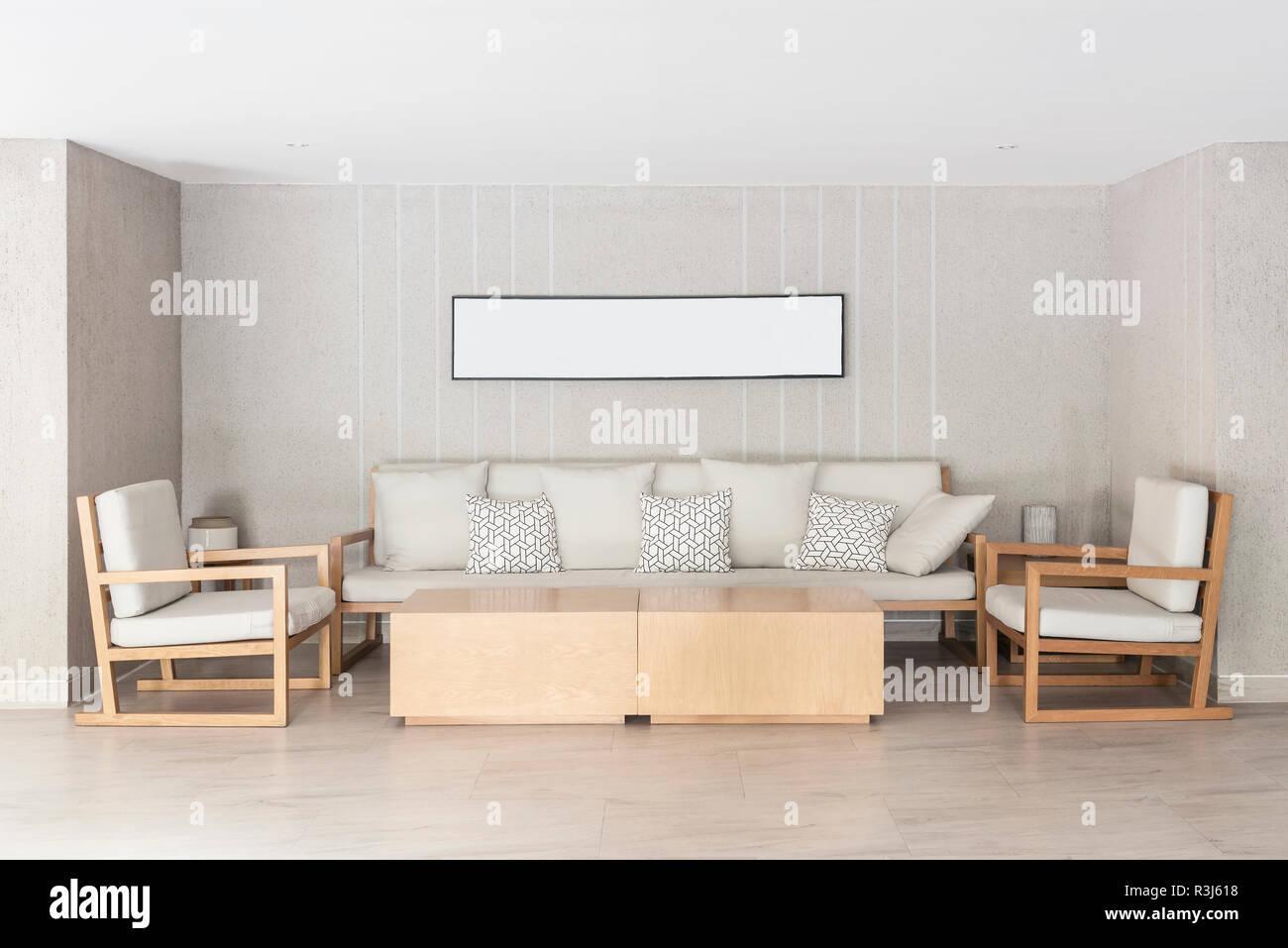 Entspannen Ecke Im Haus Sofa Und Sessel Mit Bilderrahmen Aufhangen
