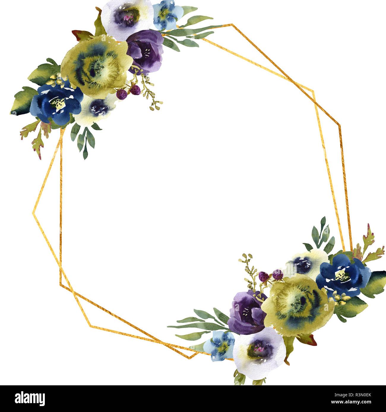 Hand Zeichnen Aquarell Hochzeit Frame Kranz Grun Und Lila Blumen